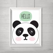 Modern Nursery Decor New Hello Panda Cartoon Canvas Oil Painting Nursery Modern Wall