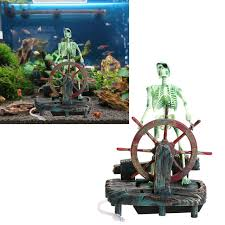 pirate captain aquarium decorations landscape skeleton on wheel