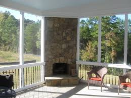 screened in porch ideas outdoor fireplace integrated into