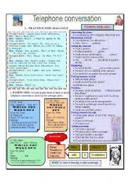 english teaching worksheets telephone conversation telephone