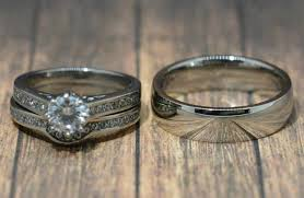 wedding sets his and hers stainless steel brilliant cut cz wedding ring couples set his and
