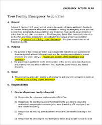emergency action plan sample 9 examples in pdf