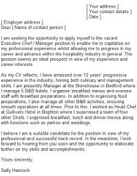 personal chef cover letter