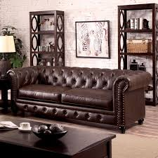 chesterfield inspired rolled arms brown leatherette button tufted