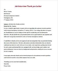 thank you letter examples interview sample job interview thank you letter 9 examples in pdf word