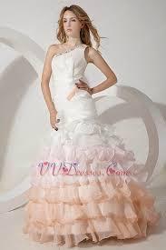 multi color wedding dress one shoulder fading color mermaid layers ruffles wedding dress