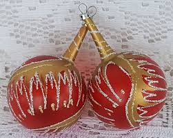 2 vintage glass christmas tree ornament long stem neck ball red