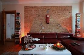 rustic stone wall in unique basement apartment ideas with teak bar