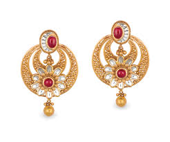gold ear ring image buy antara chandbali gold earring for women online best gold