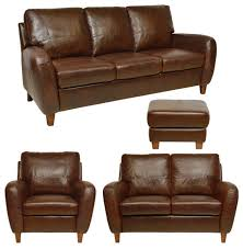Genuine Leather Sofa Sets Genuine Italian Leather Sofa Loveseat Chair U0026 Ottoman In Antique