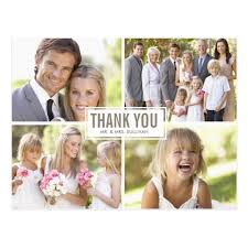 wedding thank you postcards modern photo collage wedding thank you postcard zazzle