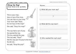 drop the mop 1st grade reading comprehension worksheet wk 10