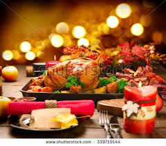 thanksgiving table with turkey christmas dinner roasted turkey on holiday stock photo royalty free
