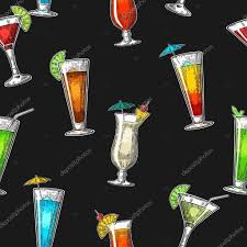 vintage cocktail party illustration seamless pattern alcohol cocktail set vintage vector engraving