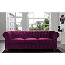 Purple Velvet Chesterfield Sofa Divano Roma Furniture Velvet Scroll Arm Tufted Button