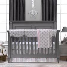 Pink Gray Crib Bedding Pink And Gray Damask Bumperless Crib Bedding Liz And Roo