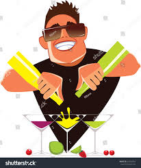 barman on cocktail party mix alcohol stock vector 627070754