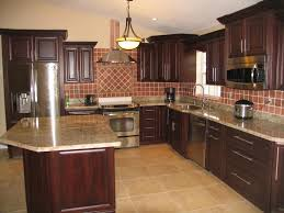 Granite Countertops Dark Oak Kitchen Cabinets Lighting Flooring