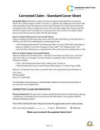 corrected claim u2013 standard cover sheet