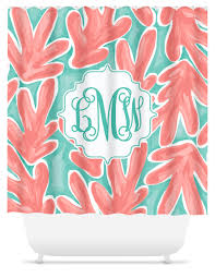 Monogram Shower Curtains Monogram Shower Curtain Coral Reef Sassy Southern Gals