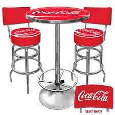 Coca Cola Patio Umbrella by Coca Cola Pub Table And Bar Stools With Backs Set Free Shipping