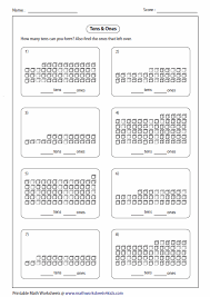 tens and units worksheets printable base ten blocks worksheets