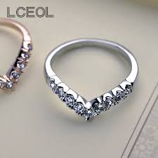 cute jewelry rings images Lceol young girls 39 cute jewelry v shape letter rings with gold jpg