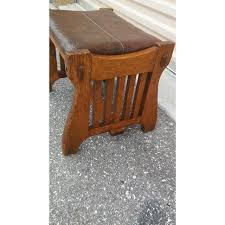 solid oak mission style coffee table vintage solid oak mission style footstool ottoman chairish