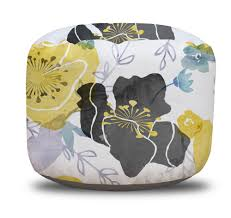 yellow and gray watercolor floral chintz round pouf ottoman