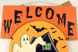 welcome happy halloween haunted house ghost wooden wall decor sign