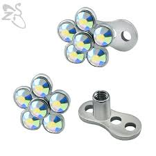 Types Of Dermals 14g Trendy Flower Dermal Anchor Tops And Base For Stainless