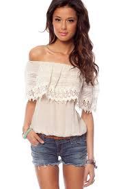Shoulder Top - denim with half white shoulder top fashion accessorize