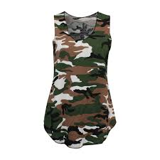 Plus Size Camouflage Clothing Ladies Women Plus Size Camouflage Army Sleeveless Vest Top Cami
