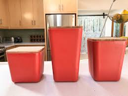 Red Canisters For Kitchen Bamboo Fiber Kitchen Canister 3 Piece Set With Airtight Bamboo Lid