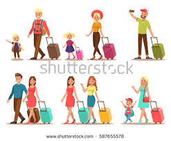 family traveling on vacation stock vector 487585465