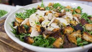 Ina Garten Dinner Party by Roast Chicken Over Bread And Arugula Salad Today Com