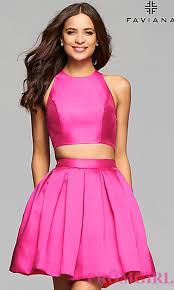 pink dresses faviana two satin homecoming dress promgirl