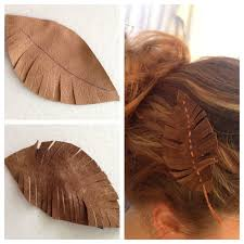 leather hair accessories diy suede feather hair sticky design