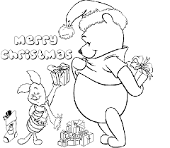 winnie pooh disney merry christmas coloring christmas