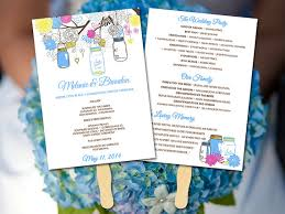 jar wedding programs wedding fan template fan program template diy wedding