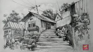 how to draw and shade old wooden houses with pencil youtube