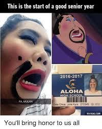 High School Senior Meme - this is the start of a good senior year 2016 2017 aloha high school