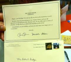 robert fudge receives birthday card from president first lady on