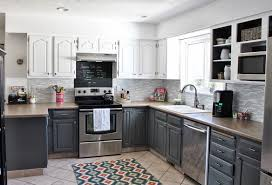 gray kitchen walls oak cabinets