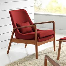 Upholstered Accent Chair Baxton Studio Carter Mid Century Red Fabric Upholstered Accent