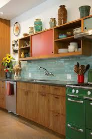 Green Home Kitchen Design Gorgeous Kitchen Turquoise Tile Green Vintage Stove Orange