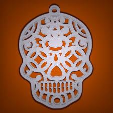 small halloween ornaments 3d printed sugar skull halloween decoration by richard swika