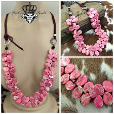 pink leather necklace images Cowgirl pink teardrops and leather necklace jpg