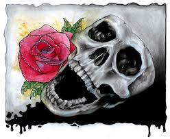 draw a skull and with pencils and watercolours traditional