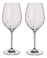 dartington crystal swarovski glitz set of 2 wine glasses or